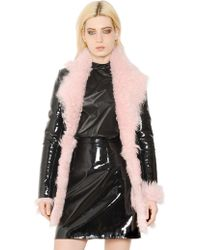 Christopher Kane - Patent Leather And Shearling Fur Coat - Lyst