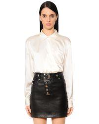 Alexander Wang - Silk Satin Shirt Bodysuit - Lyst