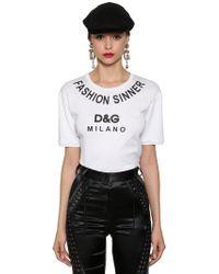 Dolce & Gabbana - Fashion Sinner Logo Print Cotton T Shirt - Lyst