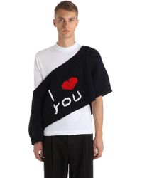 Lyst Raf Simons I Love You Oversized Wool Knit Sweater In Blue For Men