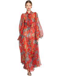 Dolce & Gabbana - Zebras Printed Silk Chiffon Long Dress - Lyst