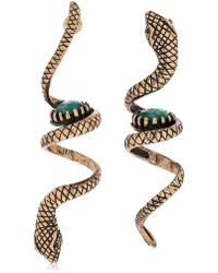 Alcozer & J - Snake Emerald Pendant Earrings - Lyst