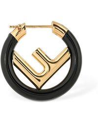 Fendi - 25mm Small Logo Circle F Mono Earring - Lyst