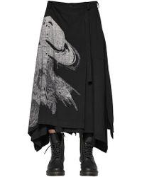 8fac8b0314 Yohji Yamamoto - Printed Layered Wool Blend Skirt - Lyst