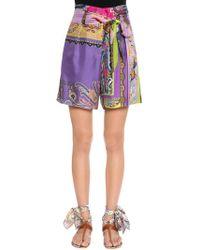 Etro - Patchwork Printed Silk Twill Shorts - Lyst
