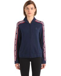 Reebok - Cotton Track Jacket With Logo Bands - Lyst
