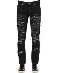 Diesel Black Gold - 17cm Slim Fit Ripped Denim Jeans - Lyst