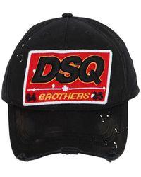DSquared² - Dsq Patch Cotton Canvas Baseball Hat - Lyst