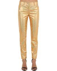 Jeremy Scott - Golden Metallic Coated Cotton Trousers - Lyst