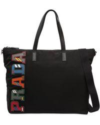 Prada - Nylon Tote Bag W/ Leather Logo Patches - Lyst