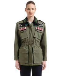 Miu Miu - Embellished Military Cotton Jacket - Lyst