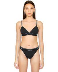 Calvin Klein - Unlined Cotton Triangle Bra - Lyst