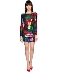 Amen | Sequined Mesh Mini Dress | Lyst