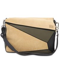 Loewe - Xl Puzzle Suede & Leather Messenger Bag - Lyst