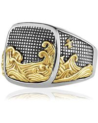 David Yurman - Waves Signet Gold & Silver Ring - Lyst