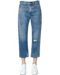Rag & Bone - Ripped Straight Cotton Denim Jeans - Lyst