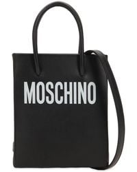 Moschino - Small Logo Printed Leather Shoulder Bag - Lyst