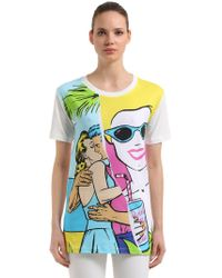 Boutique Moschino - Printed Cotton Maxi T-shirt - Lyst