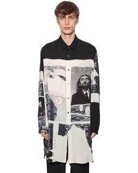 Yohji Yamamoto - Langes Hemd Aus Mit Druck - Lyst