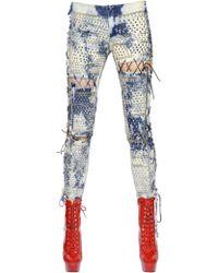 Ashish - Lace-up Washed & Studded Denim Jeans - Lyst