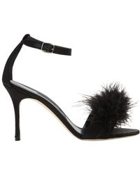 Manolo Blahnik - 90mm Plumas Feathers & Satin Sandals - Lyst