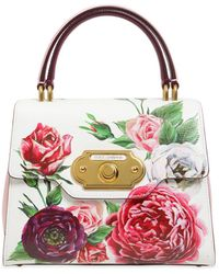 47a9b1d83556 Lyst - Dolce   Gabbana Medium Sicily Floral Printed Leather Bag in White