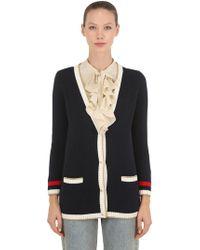 Gucci - Cardigan oversize ricamato con dettaglio lavorato a maglia - Lyst