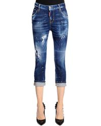 DSquared² - Cool Girl Cropped Washed Denim Jeans - Lyst