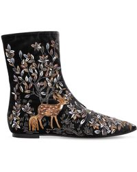 Alberta Ferretti - 5mm Embroidered Velvet Ankle Boots - Lyst