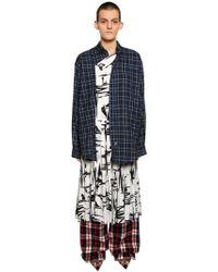 Balenciaga - Cotton Flannel & Silk Jacquard Dress - Lyst