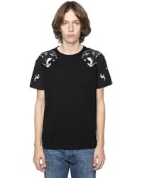 Valentino - Panther Printed Cotton Jersey T-shirt - Lyst