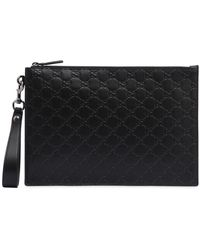 Gucci - Gg Signature Embossed Leather Pouch - Lyst