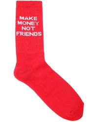 MAKE MONEY NOT FRIENDS - Logo Intarsia Cotton Blend Knit Socks - Lyst