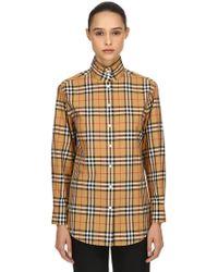 Burberry - Oversize Check Print Cotton Poplin Shirt - Lyst