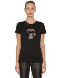 "Karl Lagerfeld - T-shirt ""karl"" In Jersey Di Cotone - Lyst"