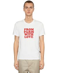 """AMI - """"T-shirt Aus Jersey """"""""from Paris With Love"""""""""""" - Lyst"""