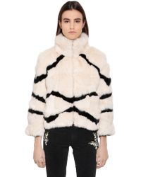Blugirl Blumarine - Striped Rabbit Fur Jacket - Lyst