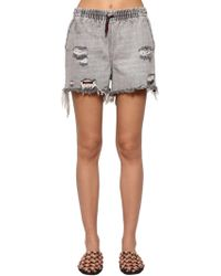 Alexander Wang - Destroyed Cotton Denim Shorts - Lyst