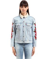 Levi's - Embroidered Trucker Cotton Denim Jacket - Lyst