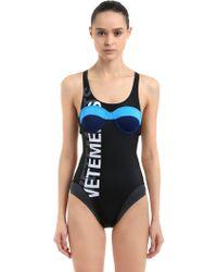 Vetements - Black Double Logo Swimsuit - Lyst