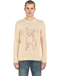 Gucci - Embroidered Intarsia Cotton Knit Sweater - Lyst