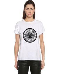 Balmain - Logo Flocked Cotton Jersey T-shirt - Lyst
