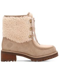 Tory Burch - 60mm Meadow Suede & Shearling Boots - Lyst