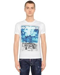 DSquared² - T-shirt Aus Baumwolljersey Mit Desert-druck - Lyst