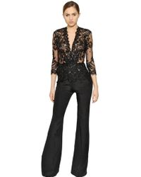 Zuhair Murad - Embellished Lace & Crepe Jumpsuit - Lyst
