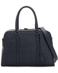 Ermenegildo Zegna - Denim Effect Woven Leather Bag - Lyst