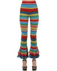 Moschino - Pantalones De Punto Con Rayas De Lurex - Lyst