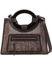 f4f3fa6e86d1 Fendi - Runaway Logo Printed Canvas  Leather Bag - Lyst