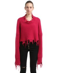DIESEL - Destroyed Cropped Rib Knit Wool Jumper - Lyst