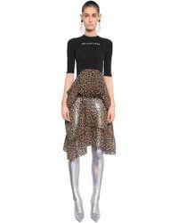 Balenciaga - Knit & Leopard Printed Chiffon Dress - Lyst